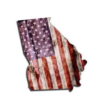 Georgia Distressed Tattered Subdued USA American Flag Vinyl Sticker