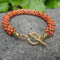 Gorgeous Orange and Gold Beaded Bracelet