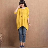 2 Colors Yellow Casual Tops Long Sleeve T-shirt Autumn Spring Tops Outwear-Women Clothing Outfit