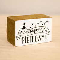 Happy Cat Day Happy Birthday Rubber Stamp