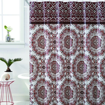"Royal Bath Burgundy Mandala Burst PEVA Non-Toxic Fabric Shower Curtain - 72"" x 72"""