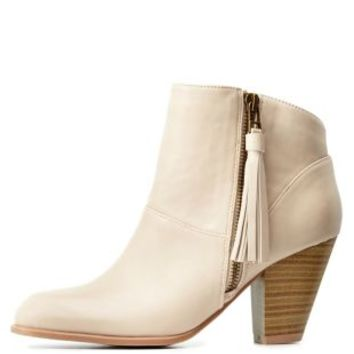Stone Qupid Side-Tassel Chunky Heel Booties