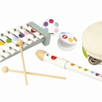 Janod 07600 Confetti Musical Instrument 4pc Play Set with Coloring Book