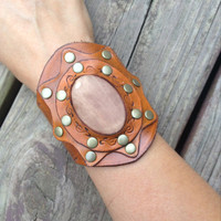 Bohemian Style Leather Cuff, Tooled and Stamped Leather with Rose Quartz Gemstone, Western Cowgirl Leather Jewelry
