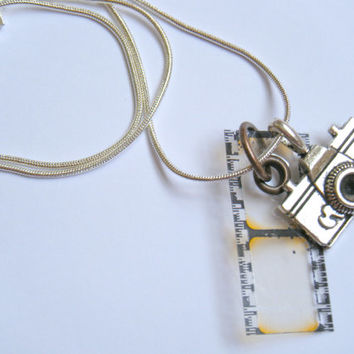 OOAK Camera Photograph Photographer Film Silver Pendant Necklace Statement Metal Upcycled Recycled Material Artist Art Repurposed Jewelry