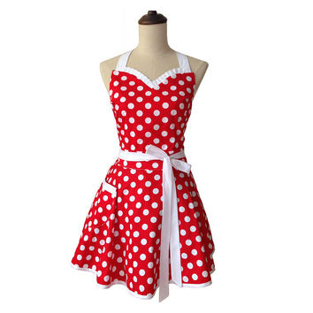Sweetheart Retro Kitchen Apron Woman Cotton Polka Dot Cooking Salon Avental de Cozinha Divertido Pinafore Apron Dress Vintage