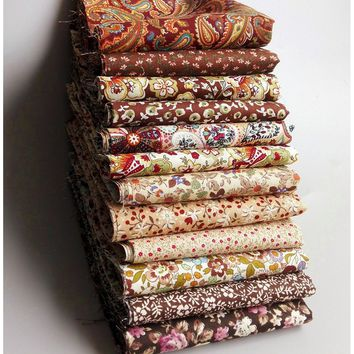 12pcs 23CM*24CM/ 9.05*9.44inch Brown Retro Cotton Patchwork Fabric for Sewing Crafts Tecidos Quilting Tissue Tilda Doll Cloth