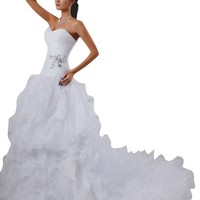 JOLLY BRIDAL Organza Beaded Sweetheart Lace Up Wedding Dress