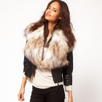 High Quality 2014 New Fashion Big Brand Winter Warm Fur Scarf Shearling Colete De Pele Rabbit All-Match Fur Jacket Faux Fur Vest