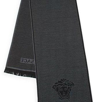 CREYON8C Versace Men's Box Patterned Wool Scarf, OS
