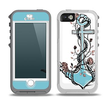 The Blue Pastel Anchor with Roses Skin for the iPhone 5-5s OtterBox Preserver WaterProof Case