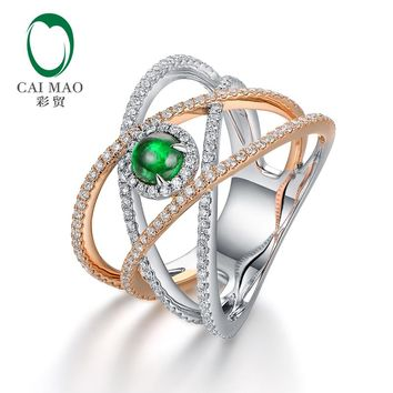 Caimao 0.45ct Natural Cabochon Emerald 14kt Two Tone Gold Full Cut Diamond Engagement Ring for Unisex