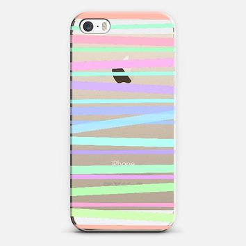Pastel Rainbow Stripes - Transparent/Clear Background iPhone 6 case by Lisa Argyropoulos | Casetify