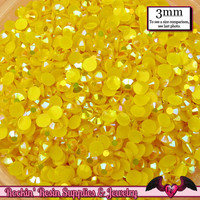300 pcs 3mm AB SUNSHINE YELLOW Jelly Decoden Faceted Flatback Candy Rhinestones