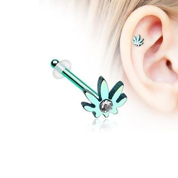 Colorline Cannabis Sparkle Piercing Stud with O-Rings