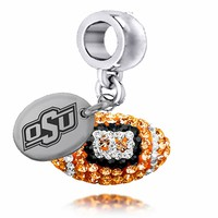 Buy Oklahoma State Cowboys Enameled Football Drop Charm. Solid Sterling Silver with Enamel . Free Shipping