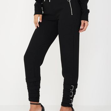 Buckle Detail Trousers - Black