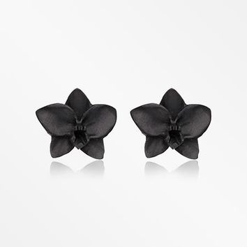 A Pair of Divine Black Orchid Handcarved Wood Earring Stud