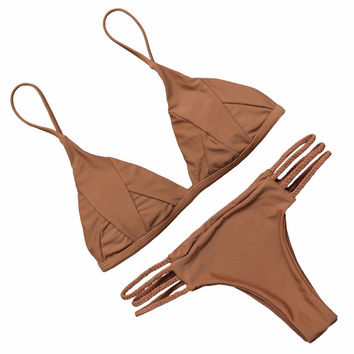 PINKCOSER Salty Seabreeze Lace Up Bikini Set