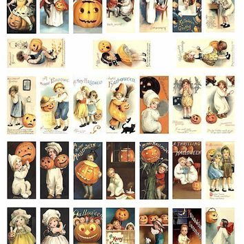 Halloween black cats kids in costumes vintage clip art collage sheet 1 BY 2 inch dominos