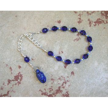 Gaia Prayer Bead Bracelet in Blue: Mother Earth, Mother of the Greek Gods