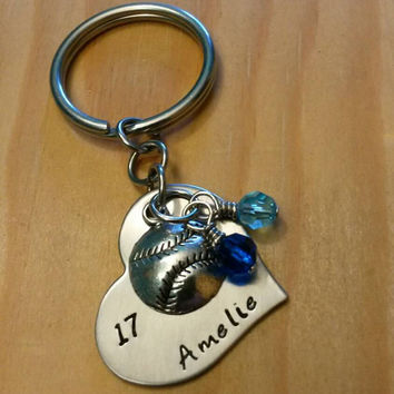 Hand Stamped Peraonalized Softball Heart Keychain - with Team Colors - softball Team gift Sports Jewelry - Bat Bag Charm
