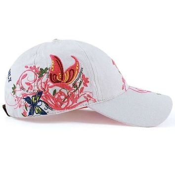 ESBG8W Hot Summer Women Lady Flowers Printed Butterfly Embroidered Golf Hat Adjustable Baseball Cap