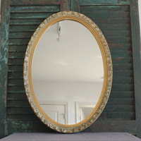 Antique style oval mirror, wall mirror, regal mirror, gold mirror, gold decor, French Provincial decor