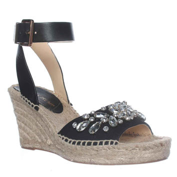 Ivanka Trump Dona3 Wedge Espadrille Ankle Strap Sandals - Black Multi