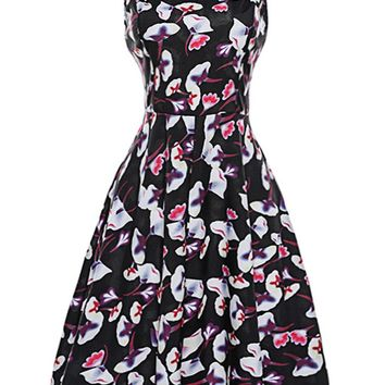 Streetstyle  Casual Round Neck Extraordinary Floral Printed Skater Dress