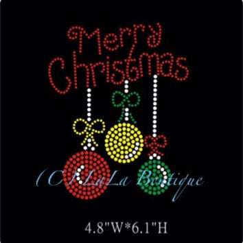Merry Christmas Ornaments iron on Rhinestone transfer - hotfix iron on rhinestone - DIY motif - appliqué hot fix heat transfer bling