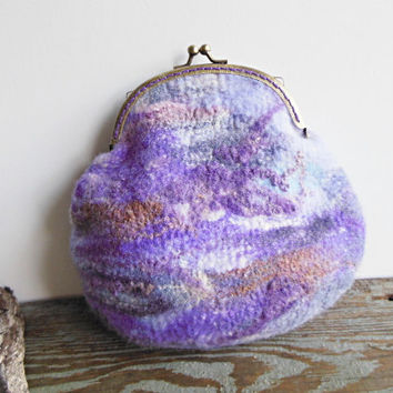 Hand felted purse bag pouch metal frame purse, wool felted, natural white, violet, lavender, OOAK bag, designer pouch, one of the kind pouch