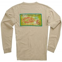 Tackle & Bait Long Sleeve Tee in Cottonwood Tan by Southern Tide
