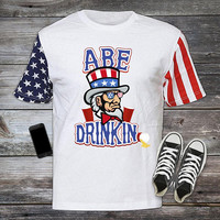 Abe Drinkin, Stars and Stripes, 4th of July, Fourth, Independence Day T-shirt, Shirt United States Pride, Drinking Merica cool USA-003