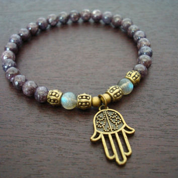 Women's Strength & Calm Mala Bracelet - Lepidolite and Hamsa Mala Bracelet - Yoga, Buddhist, Jewelry, Meditation, Prayer Beads