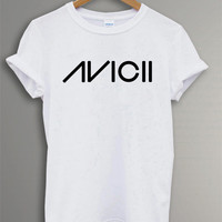 Hot DJ AVICII Trance Logo Dance Tee Shirt Black and White T-shirt Unisex Size RF-28