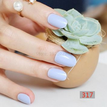 24pcs False nails Candy color nail plate tips Acrylic Nails small round head fake nails light Blue P317X