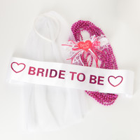 Bachelorette Party Bundle - Sash, Veil Headband, Garter, Pink Beads - Bride to Be Accessories Kit