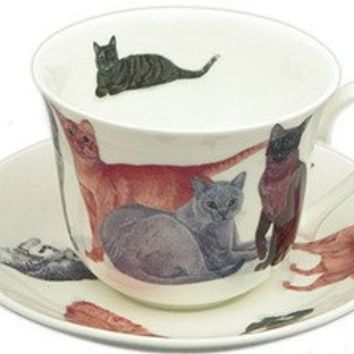 Cats Galore English Bone China Tea Cups Set of 2