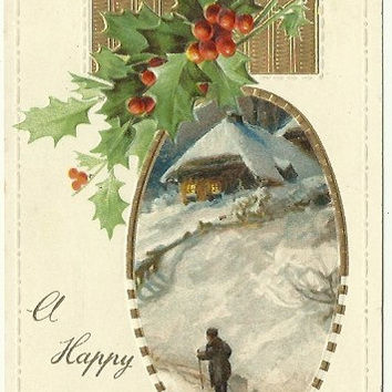 "Antique Christmas Postcard 1911 ""A Happy Christmas"" Rustic Woodland Country Scene Old Fashioned Town HomeTraveler Walking Through Snow"