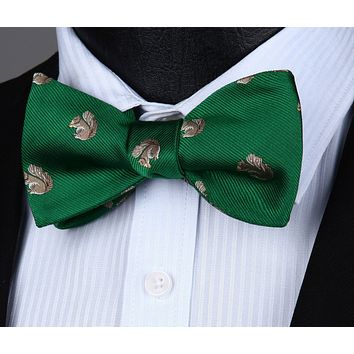 Squirrel Green Self Tie  BowTie Pocket Square