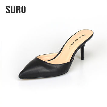 SURU Kitten Heel Mules Shoes Women 7cm Height Heel Pumps Large Size US 11 12 13 14 Big EUR Size 41 42 43 44 45 46 A97