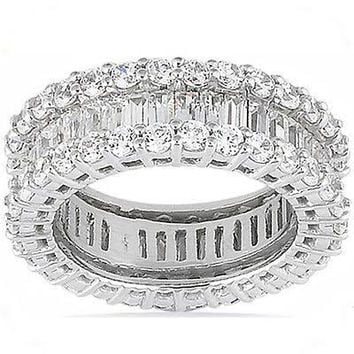 4.25ct Baguettes and Round Diamonds Eternity Wedding Ring Band Anniversary JEWELFORME BLUE