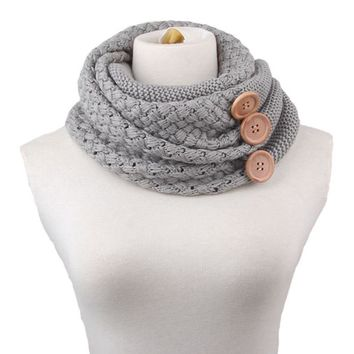 Winter Women scarf button girl thick knit scarf Wool blend foulard Warm two Circle Cable Cowl female Neck Scarf tippet 60*30CM