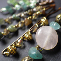 Spring Inspired- Natural Gemstones- Green Pink Gold- Beaded Bobby Pin- Hair Jewelry- Hair Style Accessory- Unique Gift Idea for Her