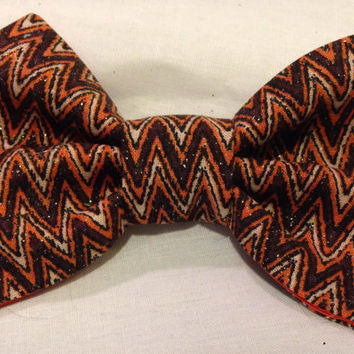 Fall Bow Tie Brown Chevron hair bow Thanksgiving bow by LilNicks