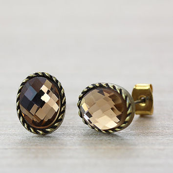 Retro Cutting Glass Eyes Earrings Oval Retro Burnished Plated Antique Classic Jewelry gift idea 1piece