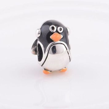 Pandora styled silver Charms cute baby penguin Charm