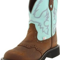 "Justin Boots Women's Gypsy Collection 8"" Boot with Perfed Saddle Vamp,Bay Apache/Turquoise Waterproof,5 B US"
