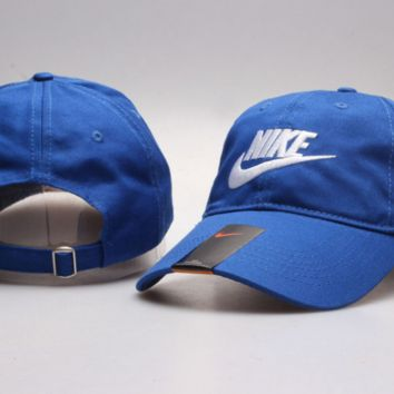 Blue Nike Letter Print Baseball Cotton Cap Hat